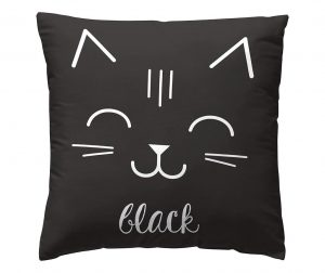 Fata de perna Cat Black 45x45 cm