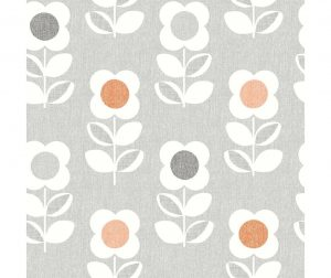 Tapet Retro Floral Grey and Orange 53x1005 cm