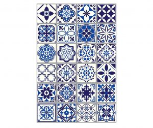 Set 12 stickere Tile Morrocan Blue
